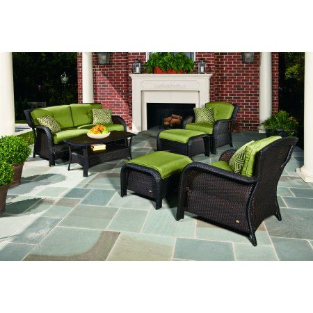 Buy Hanover Strathmere 6 Piece Outdoor Woven Lounge Set At Walmart