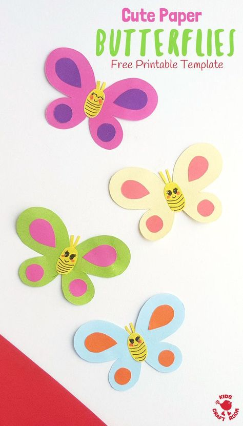 CUTE PAPER BUTTERFLY CRAFT - Simple crafts can be so effective and versatile and this Cute Paper Butterfly Craft is just that! Use our free printable template to make one, two or a whole swarm of adorably cute and pretty butterflies! Glue them to craft sticks for puppets, hang as a mobile or display on the wall. So versatile!  #kidscraftroom #kidscrafts #butterfly #summercrafts #butterflies #kidsactivities #insects #insectcrafts #craftsforkids  #printables #papercrafts