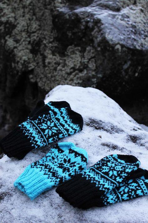 Koti kuusen alla: Talvi -lapaset + ohje Knitting Charts, Knitting Stitches, Knitting Patterns Free, Free Knitting, Mittens Pattern, Knit Mittens, Knitting Socks, Knit Socks, Crochet Gloves