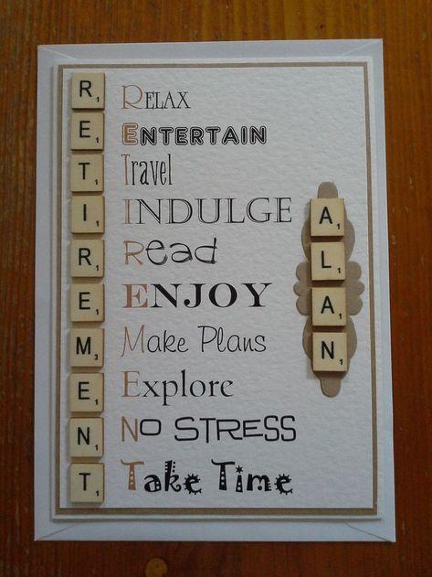 hand-made Retirement card ~ vintage scrabble themed - Basteln Karten - Scrabble Letter Crafts, Scrabble Tile Crafts, Scrabble Art, Scrabble Letters, Teacher Retirement Parties, Retirement Celebration, Retirement Party Decorations, Diy Retirement Gifts, Retirement Poems