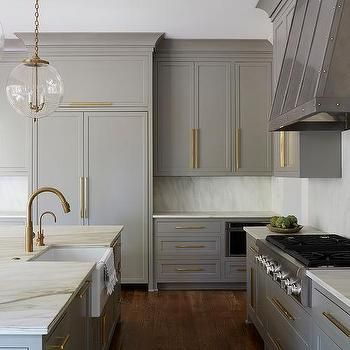 Gold And Gray Kitchen Concept With Glass And Brass Globe Lights Kitchens  Pinterest Globe Lights Gray Kitchens And Globe With Modern Traditional  Kitchens.