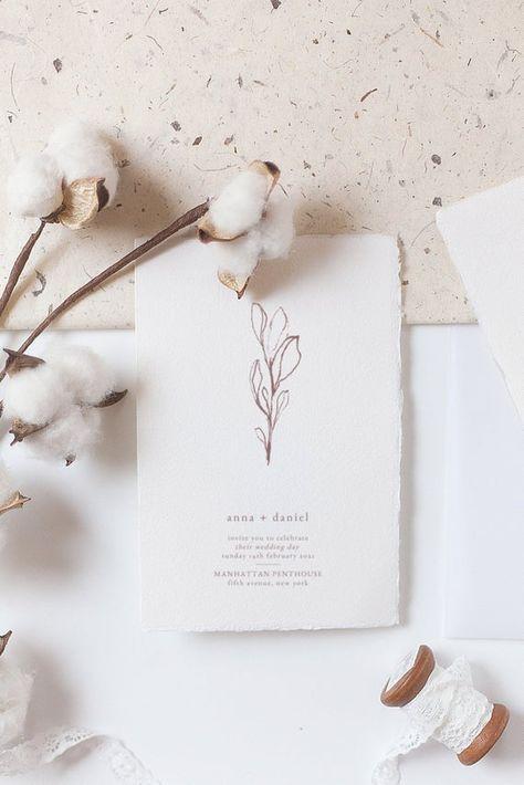 Minimalist Wedding Invitations, Printable Wedding Invitations, Elegant Invitations, Wedding Invitation Design, Wedding Stationary, Beach Wedding Invitations, Minimalist Invitation, Botanical Wedding, Floral Wedding