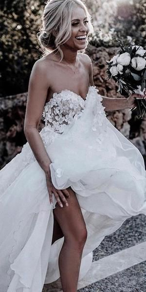 Inexpensive Sweetheart Chiffon A Line Backless Applique Wedding