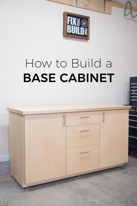 How to build a base cabinet with drawers and pull out trays.  This DIY cabinet can work as garage storage, shop organization or even as a kitchen base cabinet.  Full build video and plans inside! #woodprojects