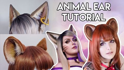 I was inspired by Kinpatsu's awesome animal ear tutorial for my Halloween costume this year, but didn't have any worbla/thermoplastic foam f Pokemon Cosplay, Cat Cosplay, Cosplay Diy, Cosplay Outfits, Halloween Cosplay, Anime Cosplay, Costume Tutorial, Cosplay Tutorial, Diy Cat Ears
