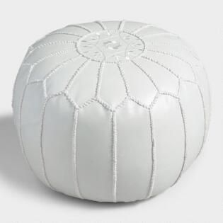 Pearl White Embroidered Leather Pouf Leather Pouf Embroidered