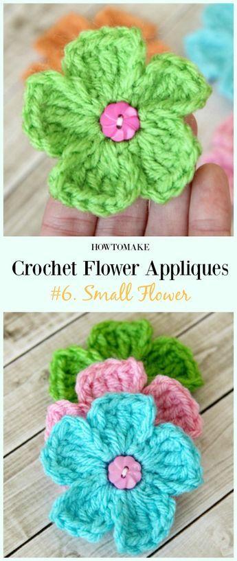 04d8d019feba0 Easy Crochet Flower Appliques Free Patterns for Beginners   crochet ...