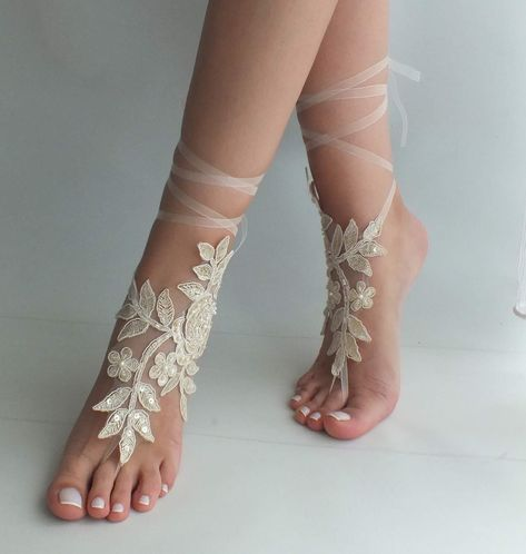 a1d1992f28df Champagne lace barefoot sandals wedding shoes beach shoes
