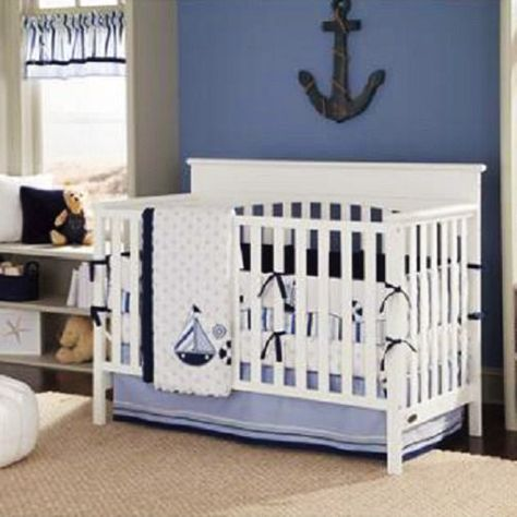 Bacati Boys 10-Piece Nursery-In-A-Bag Crib Bedding Set with Long Rail Guard Little Sailor