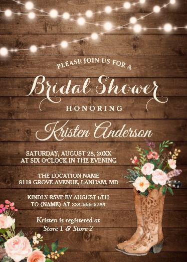 94c7cbe74cb Rustic Boots Cowgirl Western Bridal Shower Invitation | boots in ...