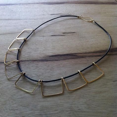 c7946c82bb86a Geometric Necklace, Gold, Hammered, Art Deco, Skyline, Loop Jewelry ...