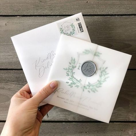 How to get these vellum wedding invitations , custom-watercolored, small-and-cute, but thick-and-regal, save the date cards,