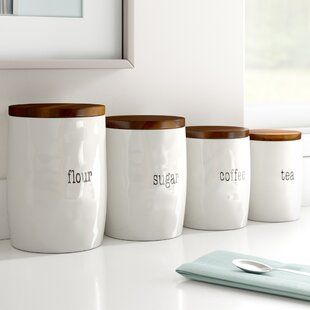 Shop a great selection of It's Just Words 4 Piece Kitchen Canister Set Dotted Line? Find new offer and Similar products for It's Just Words 4 Piece Kitchen Canister Set Dotted Line? Flour Canister, Coffee Canister, Tea Canisters, Canister Vacuum, Farmhouse Kitchen Canisters, Kitchen Canister Sets, Farmhouse Kitchens, Diy Outdoor Kitchen, Kitchen