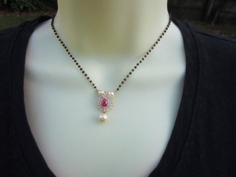 Daphne Cute Zircon Mangalsutra Indian Round CZ Stone Necklace Ethnic Jewelry