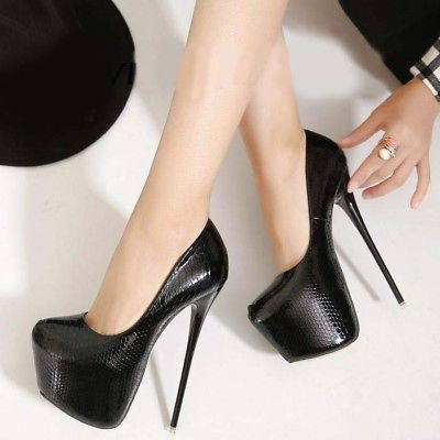 6b4ac792d66 Womens Sexy 17 cm Super High Heels Pumps Platform Clubwear Stilettos ...