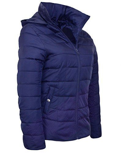 41b2b7c18a5 New Ladies COAT Quilted Padded Puffer Bubble LIGHT Womens Jacket Coat SIZES  8-16 (14 NAVY)