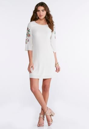 Cato Fashions Plus Size Embroidered Sleeve Shift Dress ...