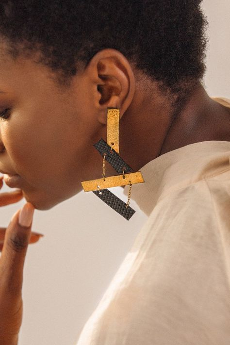 Scaffold Black and Bronze Leather Earrings