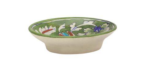 Wholesale Soap Dish In Ceramic Green Off White 5 Inch Ceramic Soap Dish