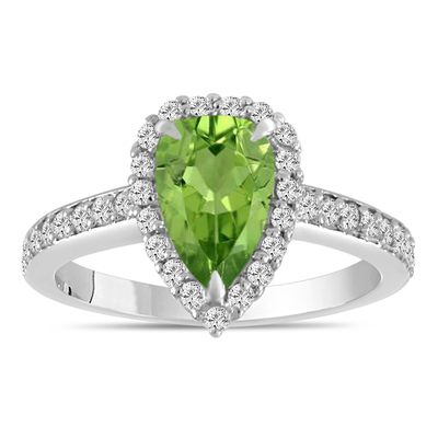 T-Ring Peridot White Sapphire 925 Sterling Silver Ring for Women Jewelry Rings Wedding Bridal Rings