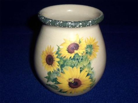 HOME U0026 GARDEN PARTY STONEWARE SUNFLOWER UTENSIL JAR CROCK 2002