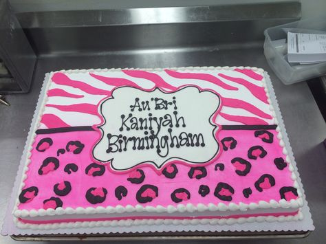 Hot Pink with Animal Print for a baby shower. Cake by Stephanie Dillon, LS1 Hy-Vee