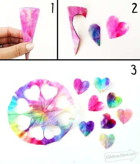 Easy Valentines Crafts - Watercolor Heart Cards - 100 Directions make watercolor art with a coffee filter Kinder Valentines, Valentine Crafts For Kids, Valentines For Kids, Valentine's Day Crafts For Kids, Toddler Crafts, Art For Kids, Coffee Filter Art, Coffee Filter Crafts, Valentines Watercolor