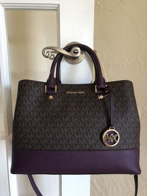 0d5965014cc4 Michael Kors Savannah Signature Large Satchel Brown Damson | Michael ...