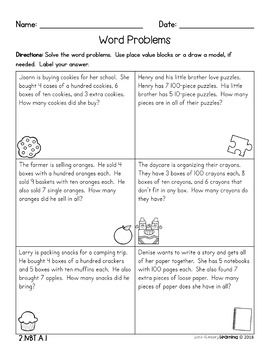 2nd Grade Place Value With Hundreds No Prep Practice Worksheets
