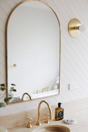 Bathroom Makeover Three Birds Renovations Round Mirror Bathroom Bathroom Makeover Arch Mirror