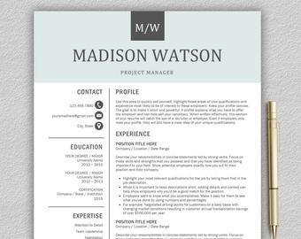 Resume Template Cv Template For Word Lettre De Motivation Etsy Resume Template Word Modern Resume Template Resume Template Professional