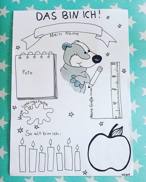 """☆ Das bin ich ☆ Zusammen mit dem Willkommensbrief werde ich dieses """"Das bin ich"""" Blatt in den Briefkasten meiner Frechdachse werfen. Auch die 2 anderen ersten Klassen haben ein passendes Blatt gezeichnet bekommen - mit Fridolin dem Frosch und einem kleinen Affen. Inspiriert wurde ich durch @frau_plotterbiene und @lesen_schreiben_rechnen und durch etliche Bullet Journal Bücher. #diy#dasbinich#ersteklasse#ersteklasse2018#grundschule#iteachtoo"""