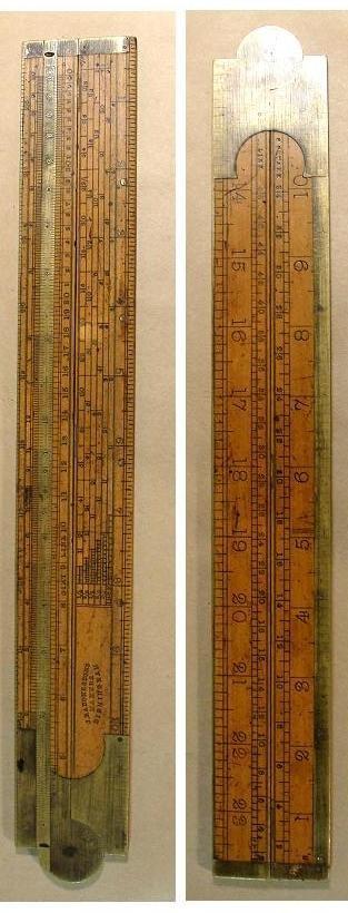 Vintage Lukfin Rugged Wood Folding Measurement Ruler 72 long with Metal Slide Ruler