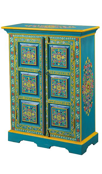 Handpainted Indian Cupboard Painted, Hand Painted Cabinet Indian