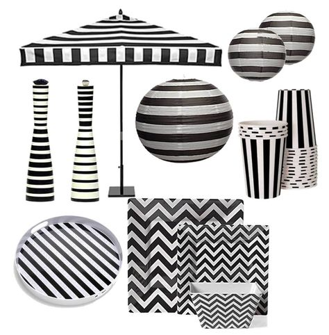 So Many Great Black White Stripe Party Decorations I Especially Like The Paper Lanterns All Very Tim Burton Perfect