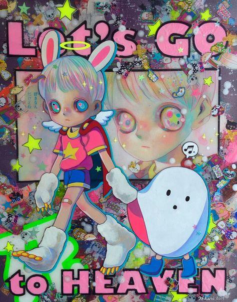 Hikari Shimoda creates surreal, mixed media, pop portraits of creepy, orb-eyed, anime-styled children. Mark Ryden, Audrey Kawasaki, Aesthetic Art, Aesthetic Anime, Overlays, Character Art, Character Design, Arte Sketchbook, Cute Art Styles