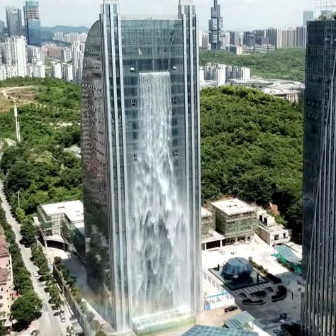 This Chinese Skyscraper Boasts One of the World's Largest Man-Made Waterfalls