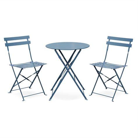 Table de jardin bistrot pliable - Emilia ronde bleu grisé- Table ...