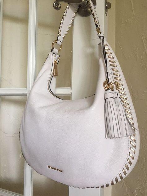 14705c4a4febef MICHAEL Michael Kors Lauryn Large Leather Shoulder Bag Optic White Gold # MichaelKors #ShoulderBag