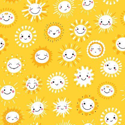 vector seamless pattern with cute smiling sun kawaii icons sky niedlich kind mode labrador vektor telefon symbol