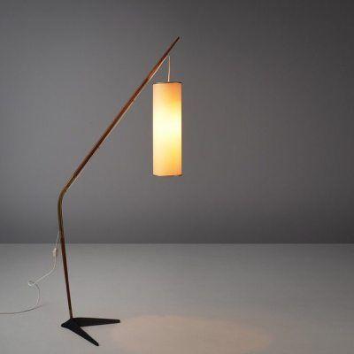 Morentz Gallerysven Aage Holm Sorensen Fishing Pole Floor Lamp Teak Cast Iron Brass And Paper Denmark 19 Elegant Floor Lamps Unique Light Fixtures Lamp