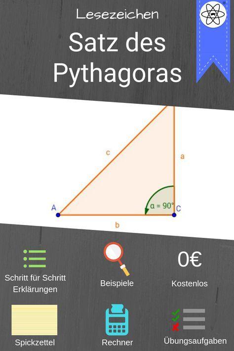 Erklarung Des Satz Des Pythagoras Mit Beispielen Arbeitsblattern Spickzetteln Und Mehr Einfach Mathe Lernen Satz Des Pythagoras Nachhilfe Mathe Spickzettel