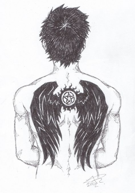 Castiel anti-possession symbol tattoo fanart