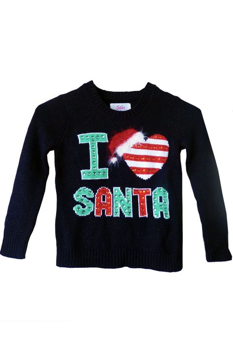 merry christmas i love santa 3 4 holiday ugly christmas sweater funny 19 a liked on polyvore featuring tops black sweatshi