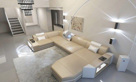 Modern U Shaped Sofa Dallas With Lights, Contemporary Furniture Dallas