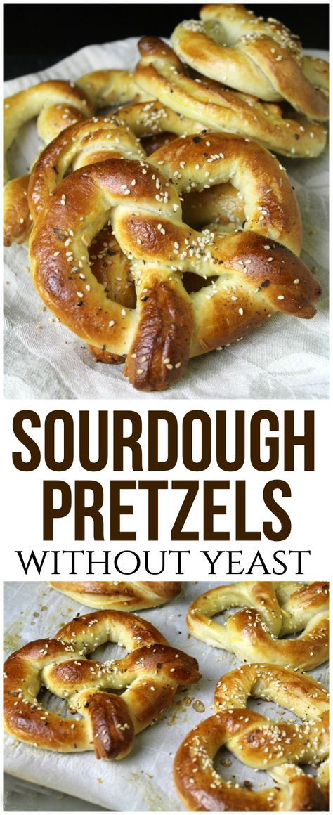 These sourdough pretzels without yeast are soft, delicious and easy to make - a great way to use up an abundance of sourdough starter! #sourdough #sourdoughstarter #pretzels #snack #homemade #sourdoughbread #baking