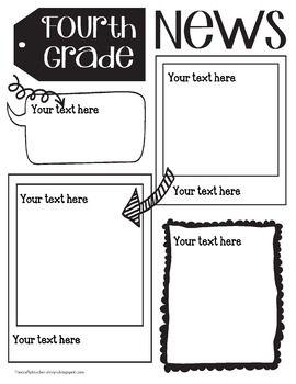 Fourth Grade Newsletter Template Editable Newsletter Templates