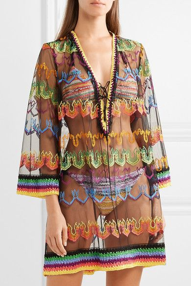 a3167ed8712ee Missoni - Mare lace-up embroidered mesh kaftan in 2019 | Beach ...