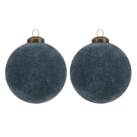 House Doctor Flock Kerstbal Glas O8 Cm Set Van 2 Donkerblauw All