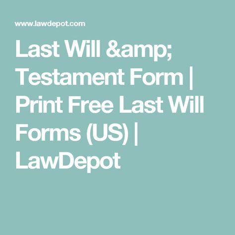 Last Will Testament Form
